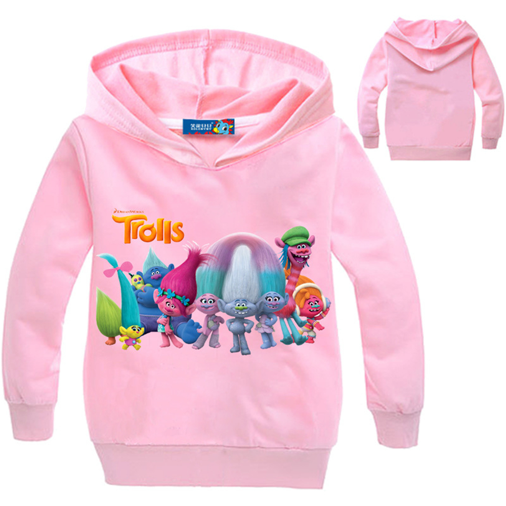 2018 New Kids Good Luck Trolls Hoodies Jackets Boys Cotton Print Sport Clothing for Girls Teenager Spring Full Sleeve Outerwears