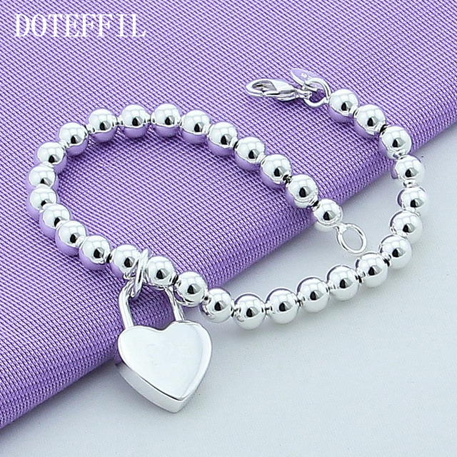 DOTEFFIL 925 Sterling Silver Heart Lock 6mm Beads Chain Bracelets Jewelry Women Top Quality Lovers Bracelets Christmas Gift 2