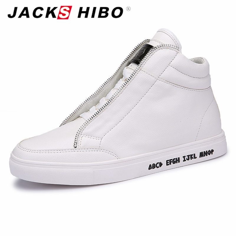 JACKSHIBO Autumn Winter brand mens ankle boots Fashion metrosexual man hip hop boots White popular flats
