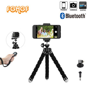 Tripod Selfie Stick Bluetooth Remote Shutter + Tripod Mini Flexible Tripod for Gopro Hero 3 4 4k for xiaomi for iPhone 8 6 7 x