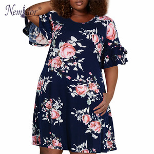Image 5 - Nemidor Women Vintage Ruffles Sleeve O neck 50s Party Stretchy A line Dress Plus Size 7XL 8XL 9XL Casual Swing Dress With Pocket