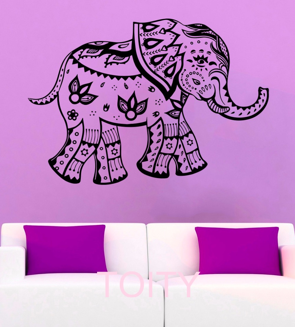 Mehndi Elephant Wall Stickers Indian Symbol Henna Vinyl Decals Decor Office  Home Living Room Interior Art Murals