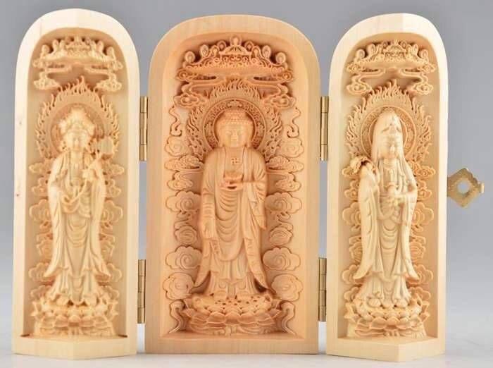 Vynikající Boxwood Buddha Kwan-yin Socha Ruční vysoká obtížná plastika Amulet Box