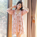 Sexy women's Two Pieces Nightwear Robe Set Free Shipping 2016 Cotton Flower Cute & Princess Mini Sleepwear Wholesale Price Hot