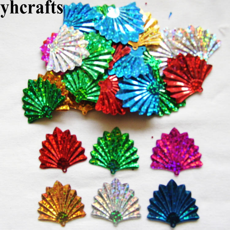20gram/Lot 35x37mm Fan Sequin Craft Material Kindergarten Crafts Intelligence Creative Activity Item Kids Handy Work Wholesale