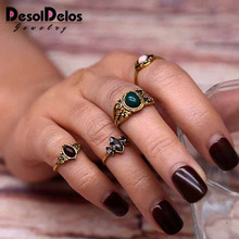 4 Pcs/Set Vintage Ring Sets Antique Alloy Nature Blue Stone Midi finger Rings for Women Steampunk Turkish