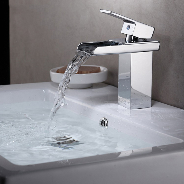 jooe waterfall faucet brass hot and cold water mixer tap Chrome basin faucet bathroom tap robinet lavabo torneira do banheiro