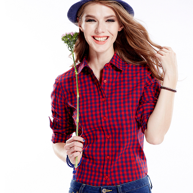 2017 new plaid shirts female 100 cotton long sleeve slim Womens red plaid shirts blouses