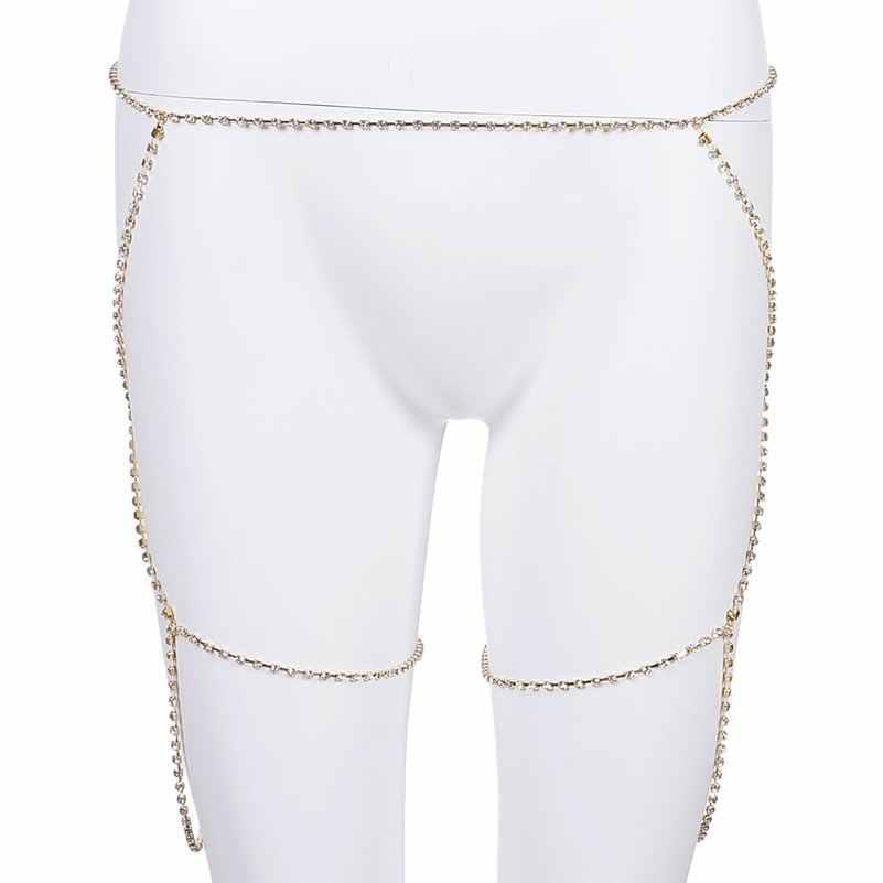 Imixlot Crystal Belly Waist Chain Body Jewelry Women Sexy Bikini Beach Body Chain Full Rhinestone Charm Leg Chain Jewelry