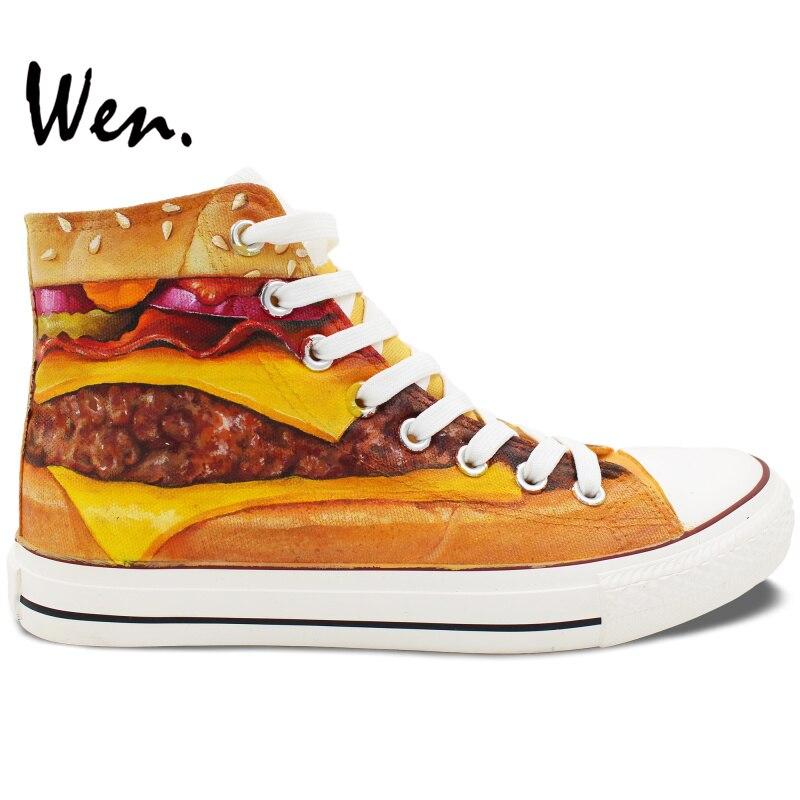Prix pour Wen Peint À La Main Chaussures de Conception Personnalisé Hamburger Hommes Femmes High Top Toile Sneakers De Noël Cadeaux