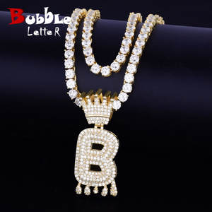 Bubble-Letters-Pendant Necklaces Crown Tennis-Chain Hip-Hop jewelry Drip-Initials Custom