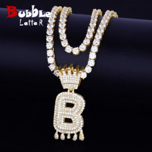 Bubble-Letters-Pendant Necklaces Crown Tennis-Chain Hip-Hop jewelry Cubic-Zircon Drip-Initials