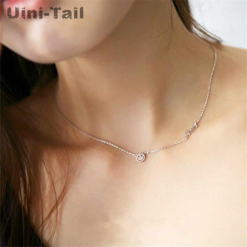 Uini-tail chaud nouveau 925 en argent sterling heureux lettre anglaise smiley collier femme coréenne mode doux simple bijoux GN934