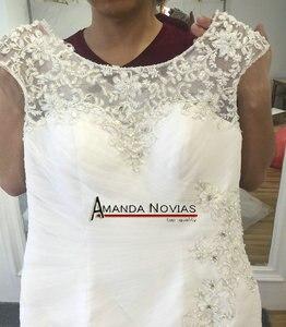 Image 2 - Vestido de novia de sirena con mangas, tallas grandes, encaje con cuentas, 2017