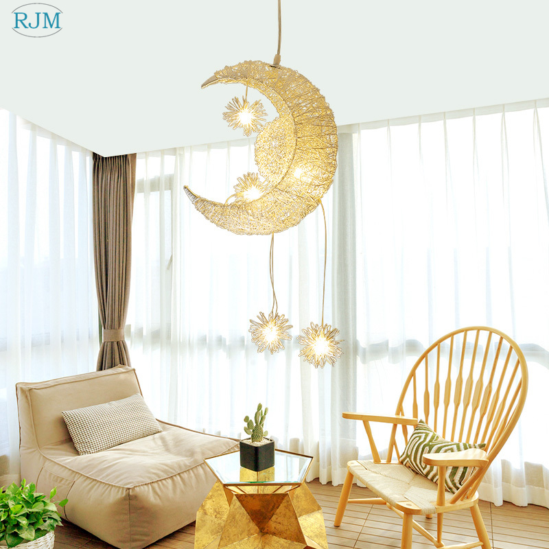 Nordic Personality Creative Simple Modern Art Moon Pendant Lights for Restaurant Bar Theme Hotel Bedroom Children s Room LampsNordic Personality Creative Simple Modern Art Moon Pendant Lights for Restaurant Bar Theme Hotel Bedroom Children s Room Lamps