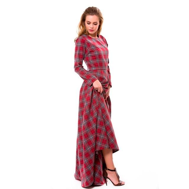 e264a11a022c WBCTW Autumn Red Plaid Long Cotton Dress High Waist Sleeve A-Line England  Style Maxi Dress 6XL 7XL 8XL 9XL 10XL Plus Size