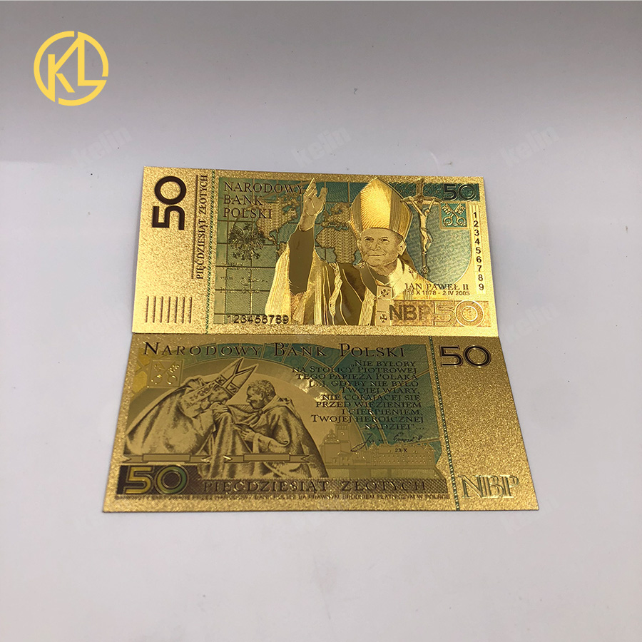 100pcs 50 PLN ZLOTY POLAND GOLD BANKNOTE POPE JOHN PAUL II For collection 999 Gold for