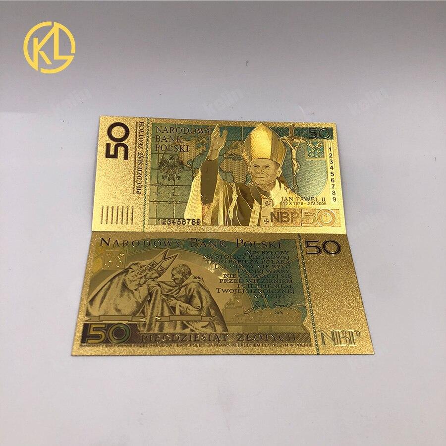100 pcs 50 PLN ZLOTY POLEN GOUD BANKBILJET PAUS JOHANNES PAULUS II Voor collection 999 Goud voor souvenir collection-in Gouden Bankbiljetten van Huis & Tuin op  Groep 1