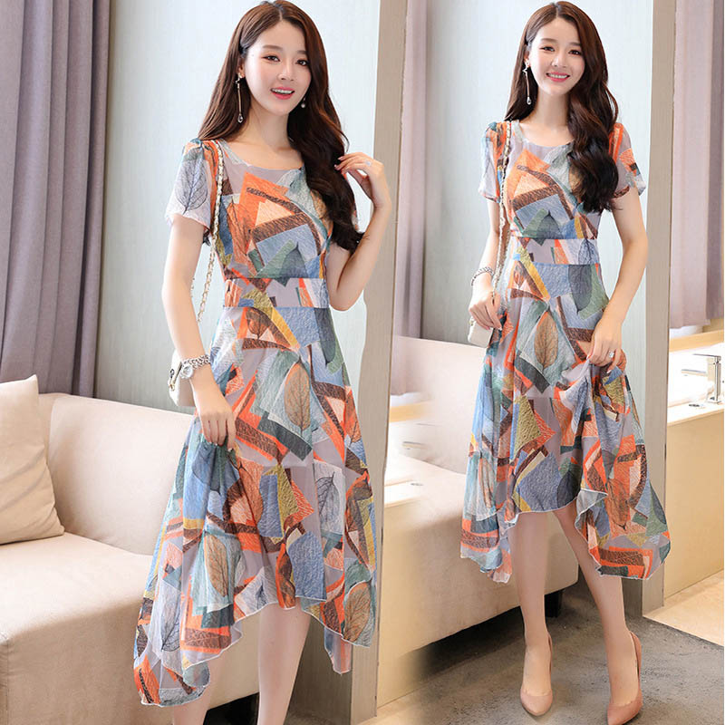 Women Short Sleeve Round Collar Printing Slim Dress for Summer Party Holiday NGD88