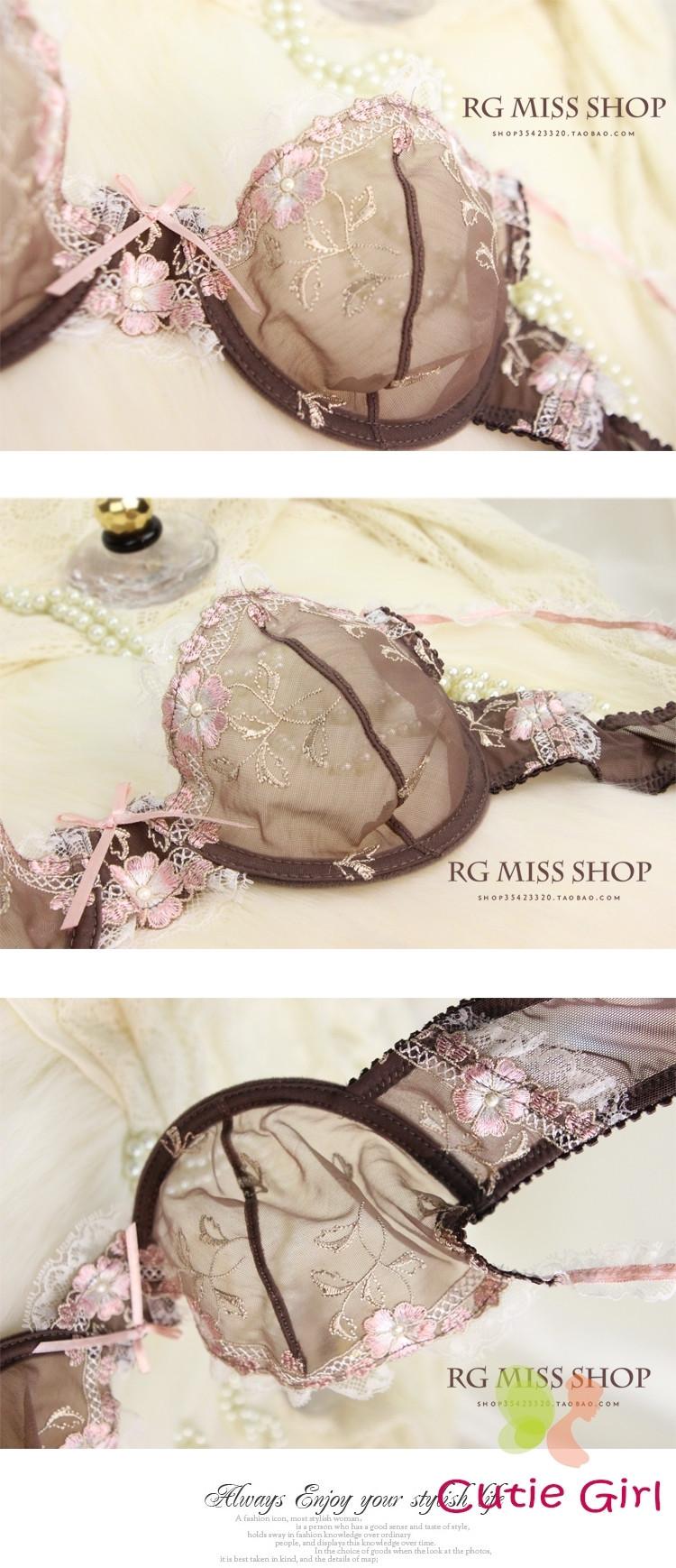 Bra & Brief Sets Free shipping Exquisite ultrathin hot sexy lace embroidery transparent underwear bra set women bra sets 4