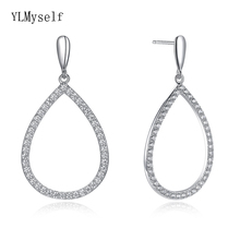 Real 925 Sterling Silver water drop Earrings for Woman Micro pave cubic zirconia Big hollow Earings boucle doreille