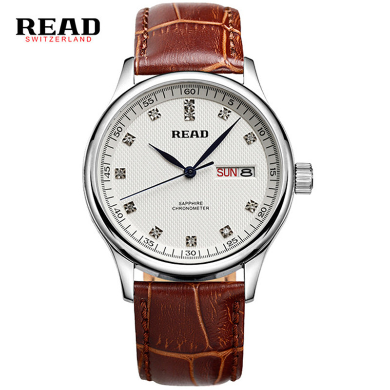 READ week and calendar full stainless steel wrist clock watches men 6003 sapphire crystal relojes hombre 2017 silver O85 adjustable wrist and forearm splint external fixed support wrist brace fixing orthosisfit for men and women