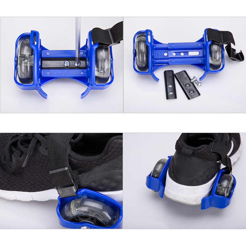1 Pair Flashing Roller Skating Shoes Whirlwind Pulley Flash Wheel Heel Roller KH889