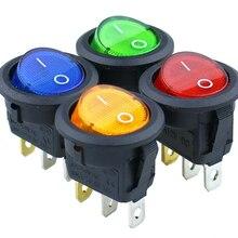 1 шт. KCD1-2 светодиодный светильник для автомобиля, лодки, круглая клавиша вкл/выкл SPST, 3 штифта, кнопочный переключатель, 220 В, макс., 250 В, аксессуары для самостоятельной сборки