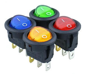 1pcs KCD1-2 LED Light Car Boat Round Rocker ON/OFF SPST 3 Pins Toggle Button Switch 220V MAX 250V DIY Accessories
