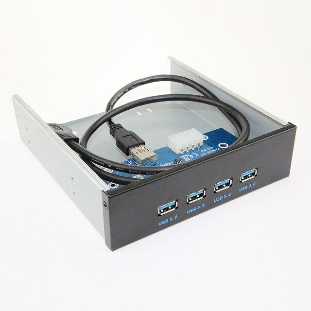 """4 portos USB 3.0 Hub + painel frontal 19pin conector USB a 4 adaptador USB3.0 colocado 3.5 """" Floppy Bay Drive Combo suporte de montagem"""