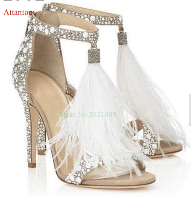 Luxury Women Shoes White Leather Crystal Embellished Sandals Rhinestone Sandals Thin Heel T Strap Feather Tassel High Heels newest designer women s feather crystal t strap sandals high heel triple bands t strap women shoes woman size 34 42 drop sh
