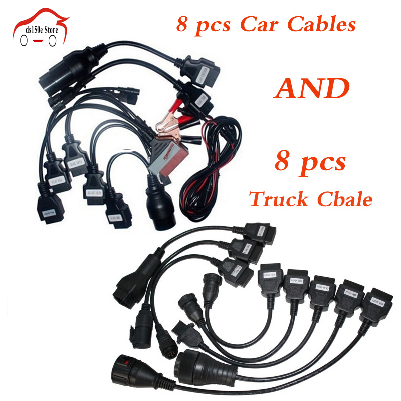 VD DS150E CDP 8pcs Full Set Car Cables + 8pcs Truck Cables for tcs cdp pro plus/MVD/WOW/Kess Auto Cable for delphis for autocom 2016 dhl free 10pcs tcs cdp pro plus truck cables 8 cables for tcs truck scanner