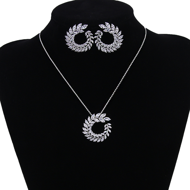 New Luxury AAA Zircon Olive Branch Shape Pendant Set For Women Fashion White Ros