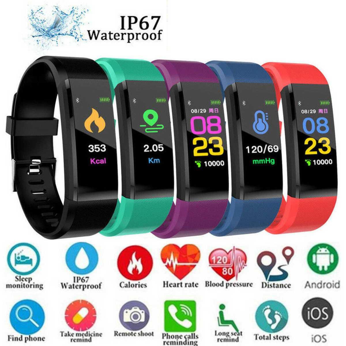 115 mais relógio inteligente das mulheres dos homens monitor de freqüência cardíaca pressão arterial fitness rastreador 0.96 polegada smartwatch relógio esporte para ios android
