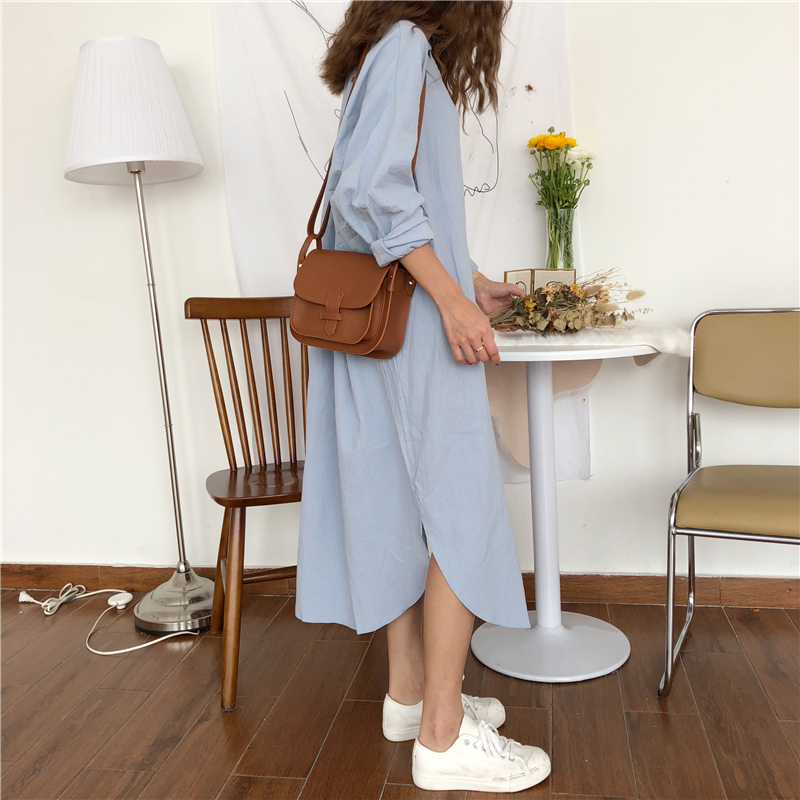 Vintage autumn Long Dress long Sleeve shirt turn down collar woman Lady loose shirt Casual Fashion maxi Dress cotton blue white 11