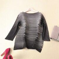 Складки трепал Женская В Полоску средней длины блузка рубашка Miyake Бесплатная доставка