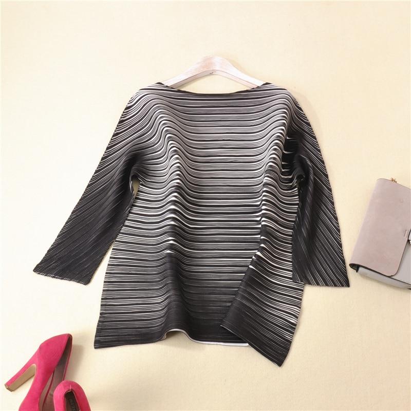PLEATS ruffled women's striped mid length blouse shirt free shipping
