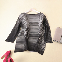 PLEATS ruffled women's striped mid length blouse shirt free shipping