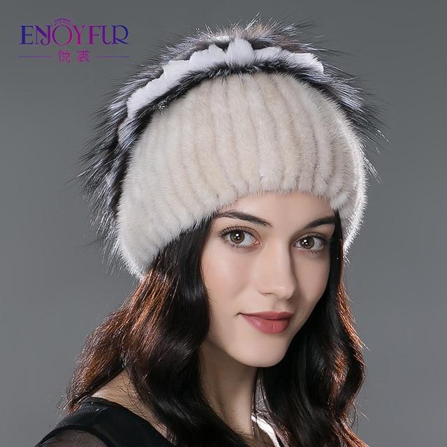 ENJOYFUR nuevos sombreros de piel de invierno real de piel de visón  sombrero con plata diseño 72bea88fb4b
