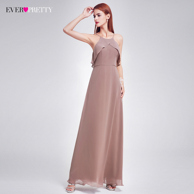 Elegant Bridesmaid Dress Ever Pretty EP07130 Long Backless Spaghetti Straps Charcoal Wedding Occasion Gowns 2017 New