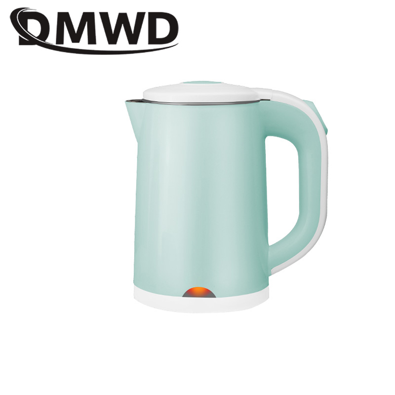 DMWD Dual Voltage Travel Hot Water Heating Electric Kettle MINI Boiling Heater Stainless Steel Portable Boiler Tea Pot 110V 220V electric pottery furnace tea pot 4 file mute mini knob control tea hot water boiler black microlite panel stove boiling machine