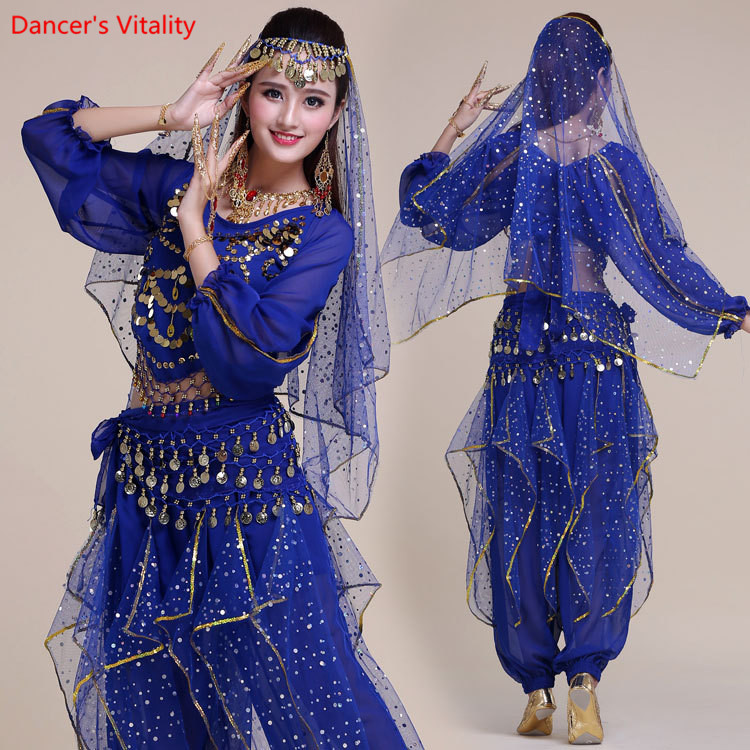 Women Belly Dance Costumes For Adult Set 2pcs Women Bollywood Indian Belly Dance Performance Handmade Clothes 6 Colors