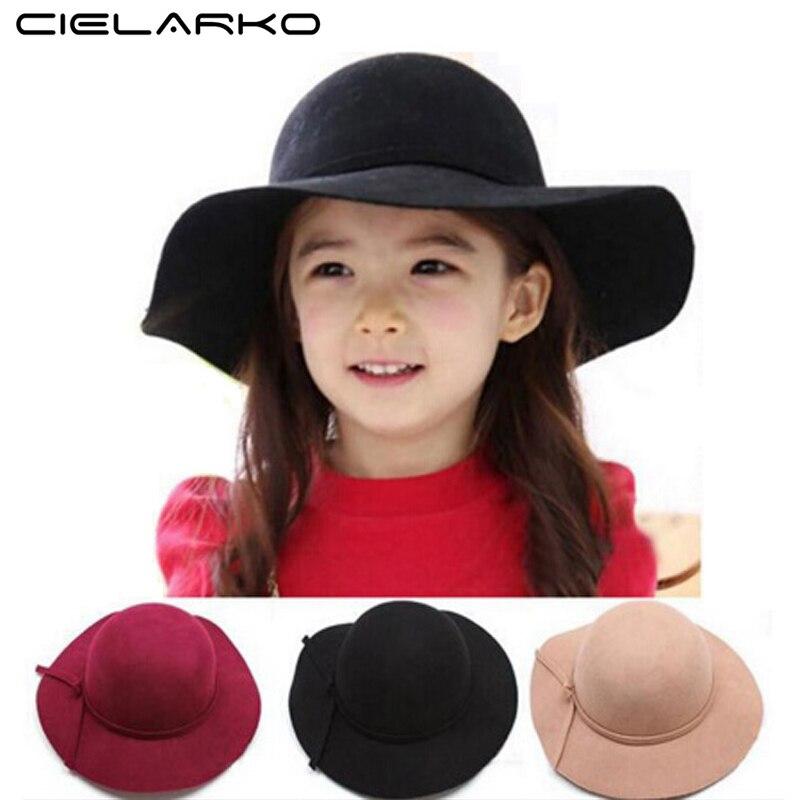 Cielarko New Style Soft Child Sun Caps Vintage Wide Brim Wool Felt Bowler Fedora Hat Floppy Cloche Girl kids Sunhat for 3-7 year