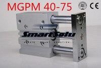 Бесплатная доставка MGPM 40 75 двойного действия 3 направляющие стрежни от цилиндры компактный пневматический цилиндр, диаметр 40 мм ход 75 мм под