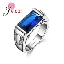 JEXXI Charming Jewelry Women Wedding Ring 925 Sterling Silver Luxury Brand Princess Cut Blue Crystal Engagement Party Rings