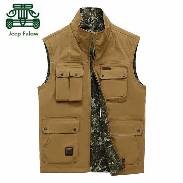 AFS JEEP Falow Camouflage Inner Two Side Man's Cotton Vest,Wholesale Price Real Man's Cargo Sleeveless Jacket,Khaki/Army Green