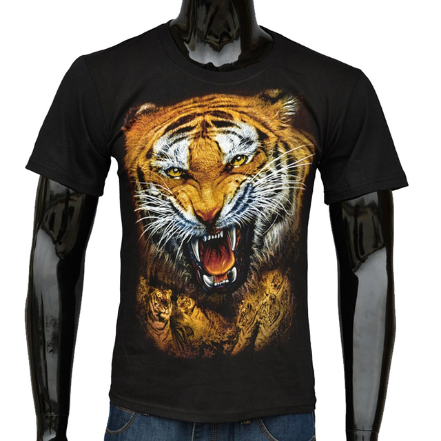 1bb92409 US $22.85 |8409 Best Goods Men Loose T shirt Animal Street Cotton Printing  Pattern Tiger Black Crevice Black Round Neck High Quality Shirt-in T-Shirts  ...