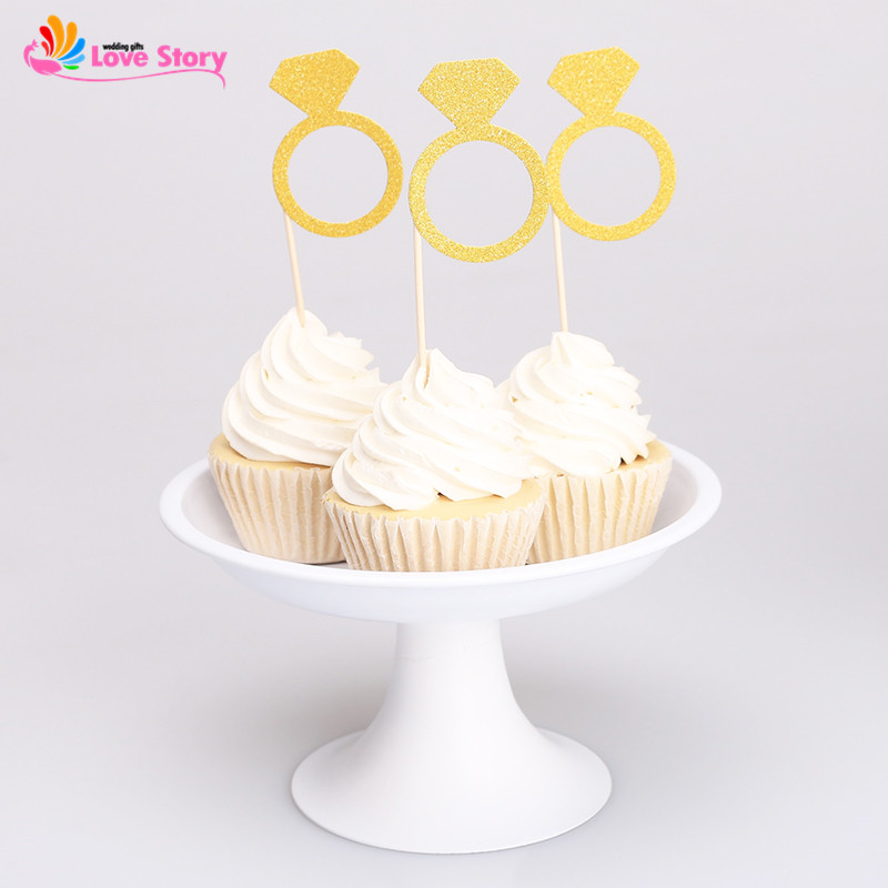 New 24pcs glitter paper cupcake topper cake toppers golden for New home cupcake decorations