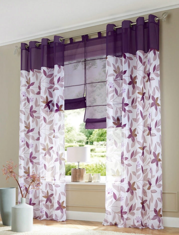 Free Shipping European Style Pattern Printed Eyelet Window Curtains For Living Room Purple 140x245cm In From Home Garden On Aliexpress