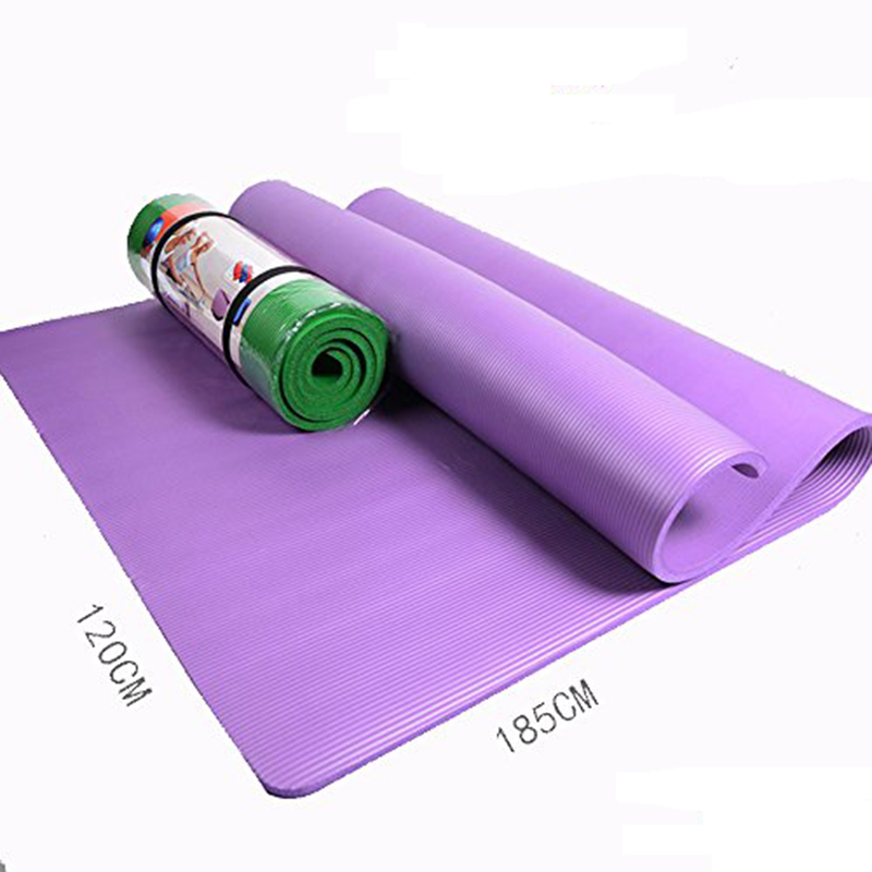 QUBABOBO 15MM NBR Non-slip Double Yoga Mats Fitness Pilates/Pad Yoga Gym Sport Exercise Mat Outdoor Camping Mat (185*120*1.5cm) new yoga pilates exercise high density eva foam massage roller fitness home gym massage